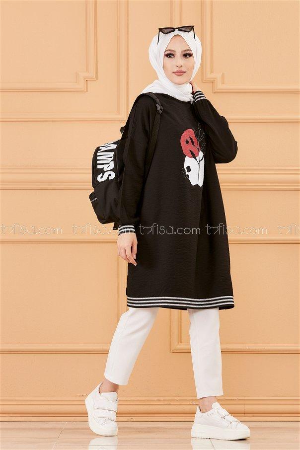 Printed Tunic BLACK - 3527