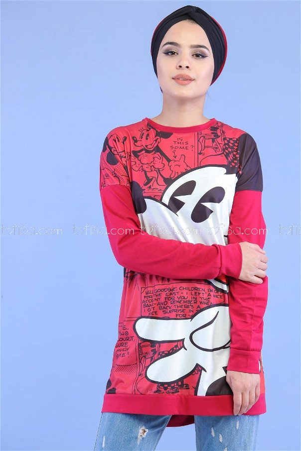 Printed Tunic Claret Red - 02 7058