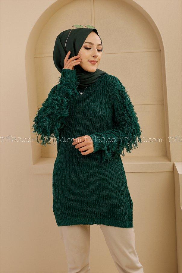 Püsküllü Triko Kazak Zumrut - 8640