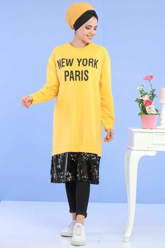 Sequins Detail Sports Tunic Yellow - 02 6725