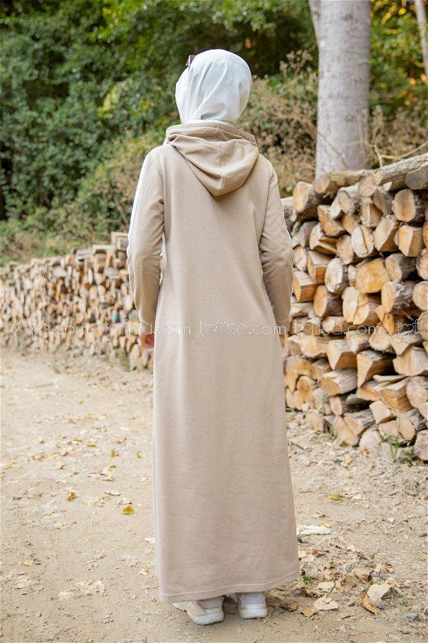 Şeritli Kapşonlu Elbise AçıkBej - 3227