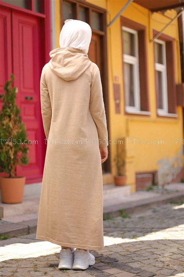 Şeritli Kapşonlu Elbise Bej - 3227