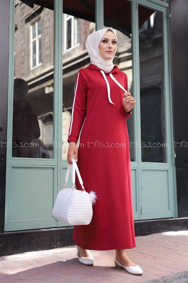 Şeritli Kapşonlu Elbise Bordo - 3227