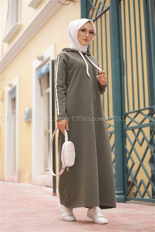 Şeritli Kapşonlu Elbise Haki - 3227