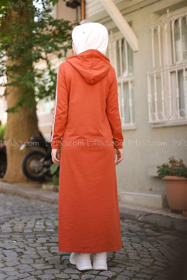 Şeritli Kapşonlu Elbise Kiremit - 3227