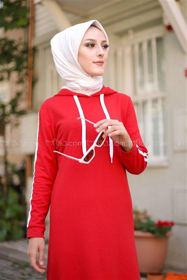 Şeritli Kapşonlu Elbise Kırmızı - 3227
