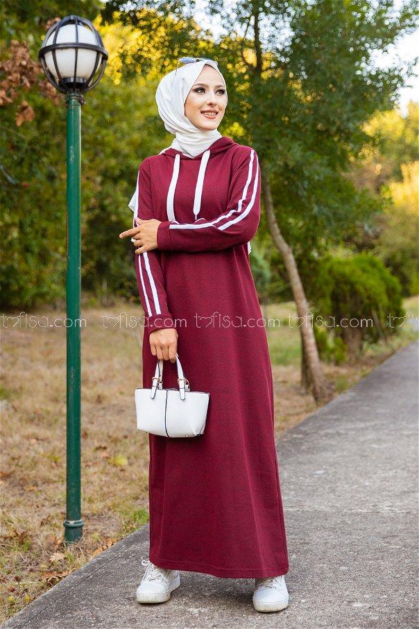 Şeritli Kapşonlu Elbise Koyu Bordo - 3227