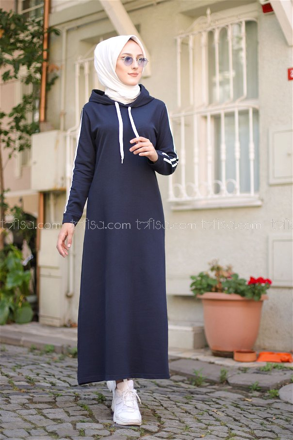 Şeritli Kapşonlu Elbise Lacivert - 3227