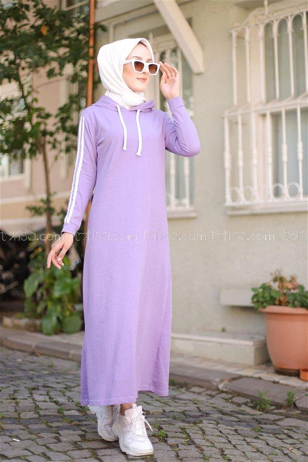 Şeritli Kapşonlu Elbise Lila - 3227