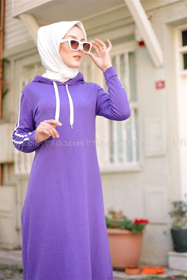 Şeritli Kapşonlu Elbise Mor - 3227