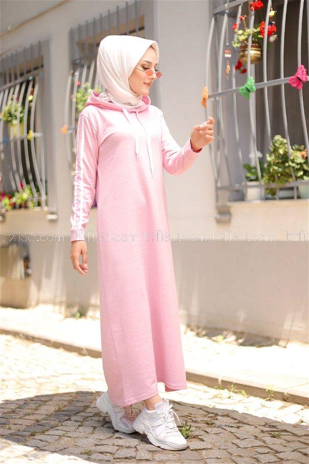 Şeritli Kapşonlu Elbise Pudra - 3227