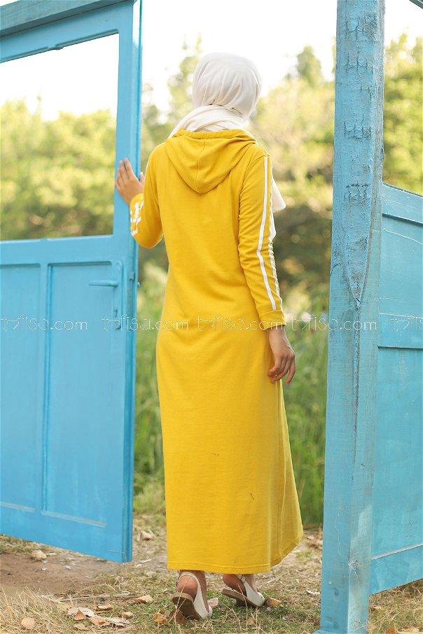 Şeritli Kapşonlu Elbise Sarı - 3227