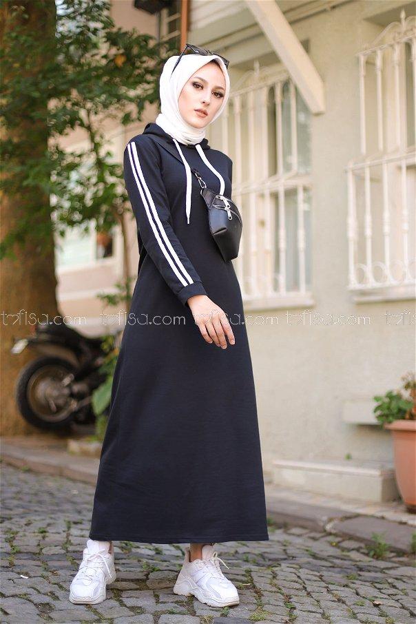 Şeritli Kapşonlu Elbise Siyah - 3227