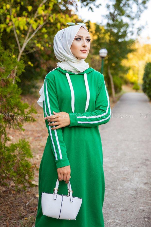 Şeritli Kapşonlu Elbise Yeşil - 3227