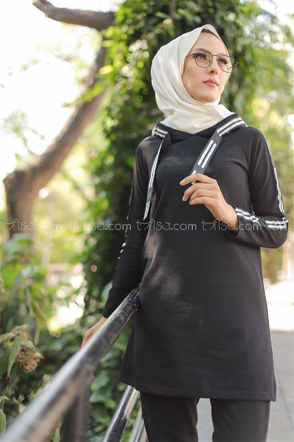 Şeritli Kapşonlu Tunik Siyah - 8358