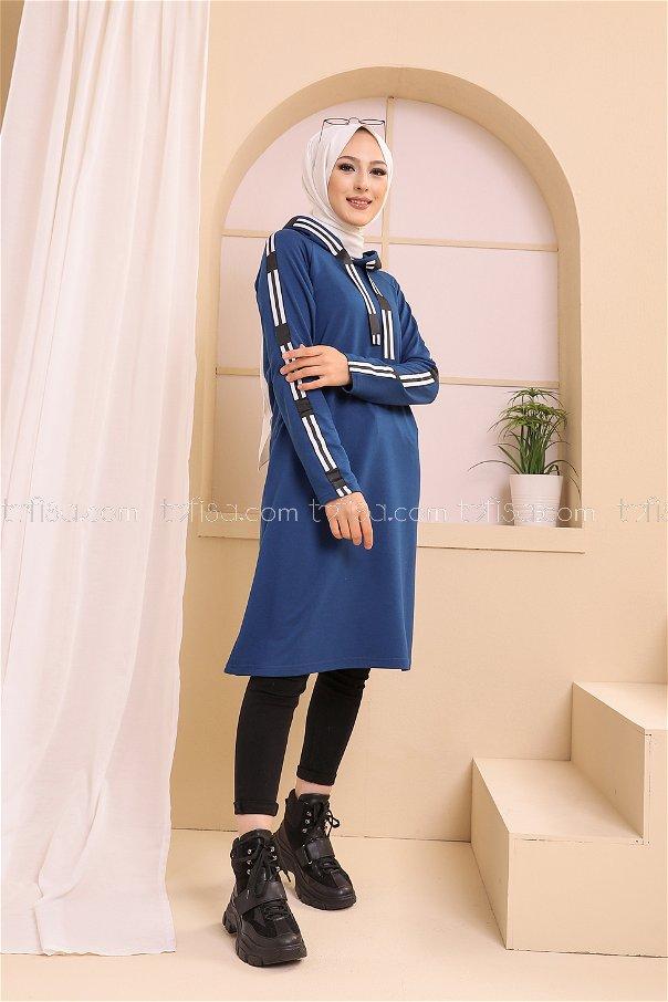Şeritli Kapşonlu Tunik İndigo - 8358