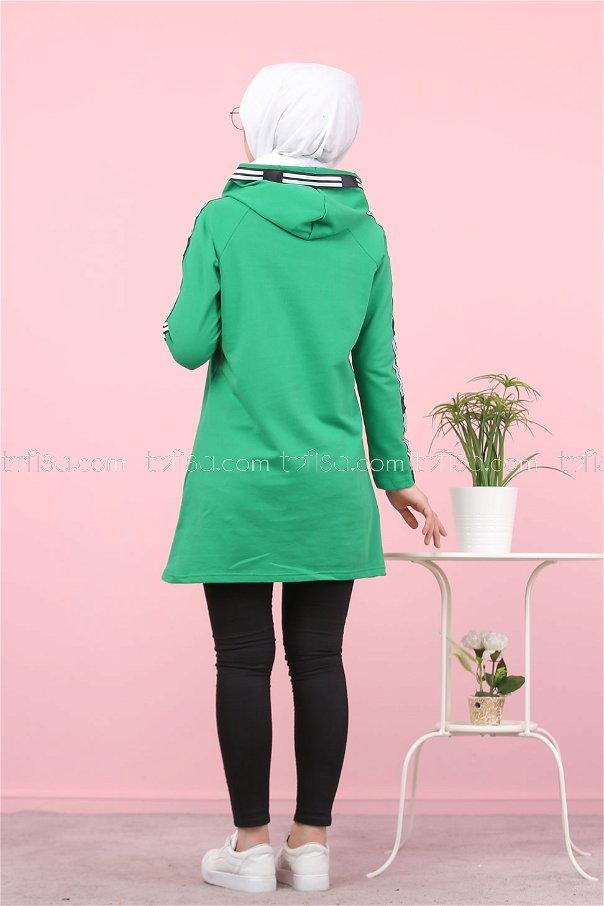 Şeritli Kapşonlu Tunik Yeşil - 8358