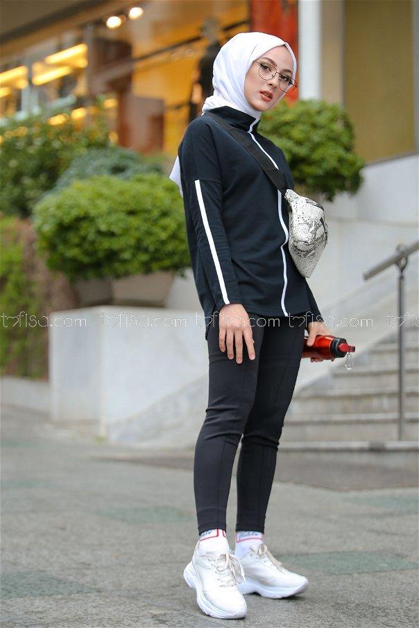 Şeritli Tunik Siyah - 4138