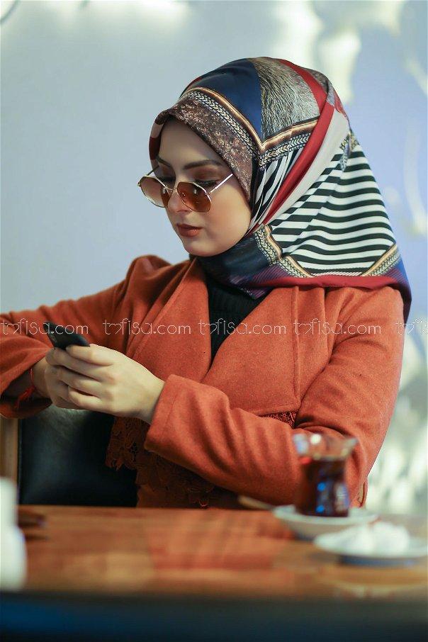 shawl Desenli claret red - 8277