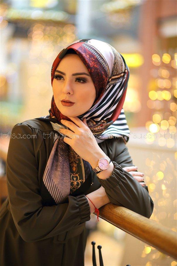shawl Desenli khaki - 8277