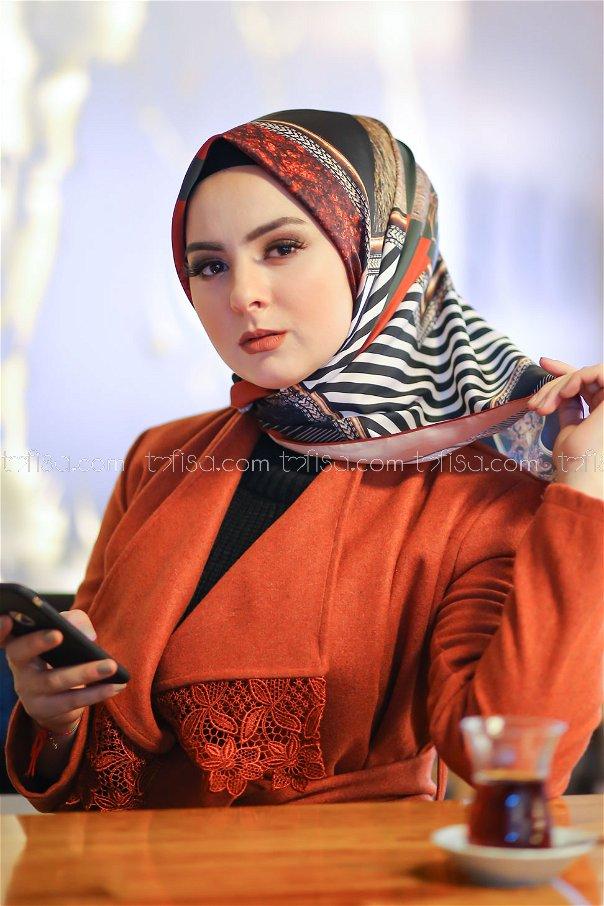 shawl Desenli Orange - 8277