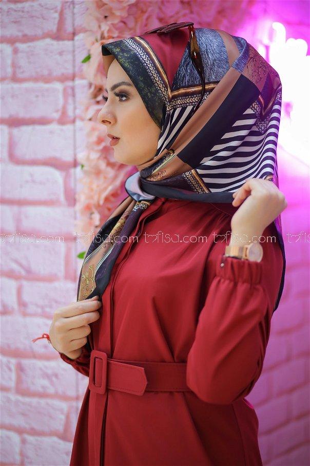 shawl Desenli Plum - 8277