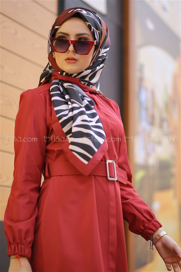 shawl patterned claret red - 8276