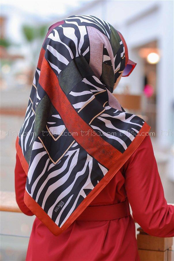 shawl patterned orange - 8276