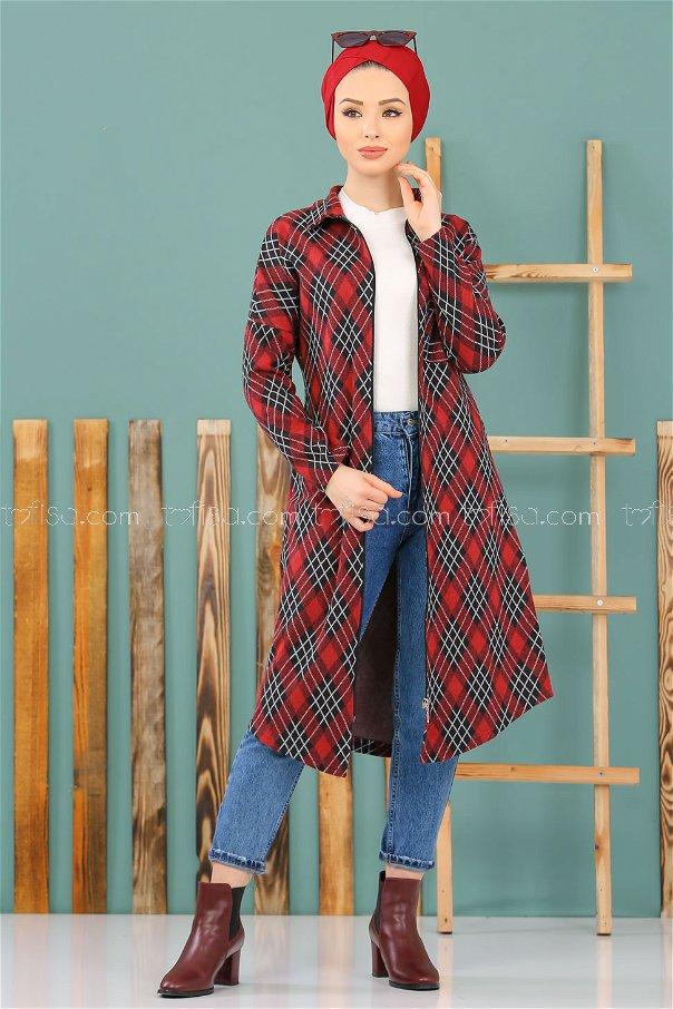 Shirt Plaid black claret red - 3007