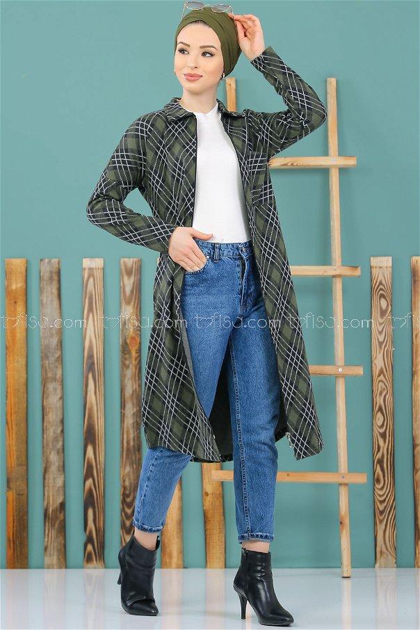 Shirt Plaid black khaki - 3007