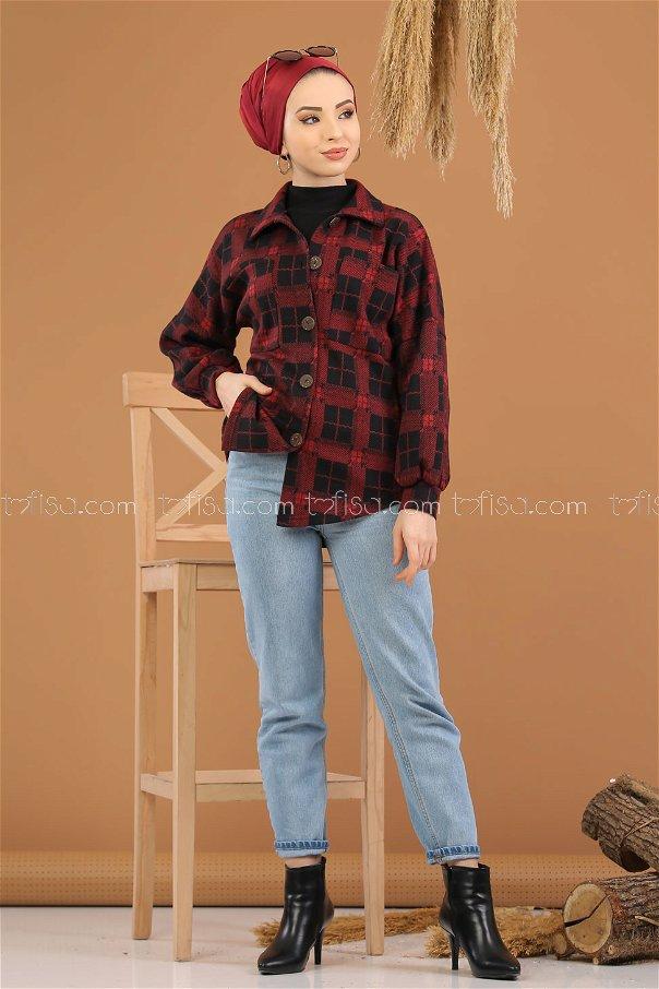 Shirt Squares claret red - 5227