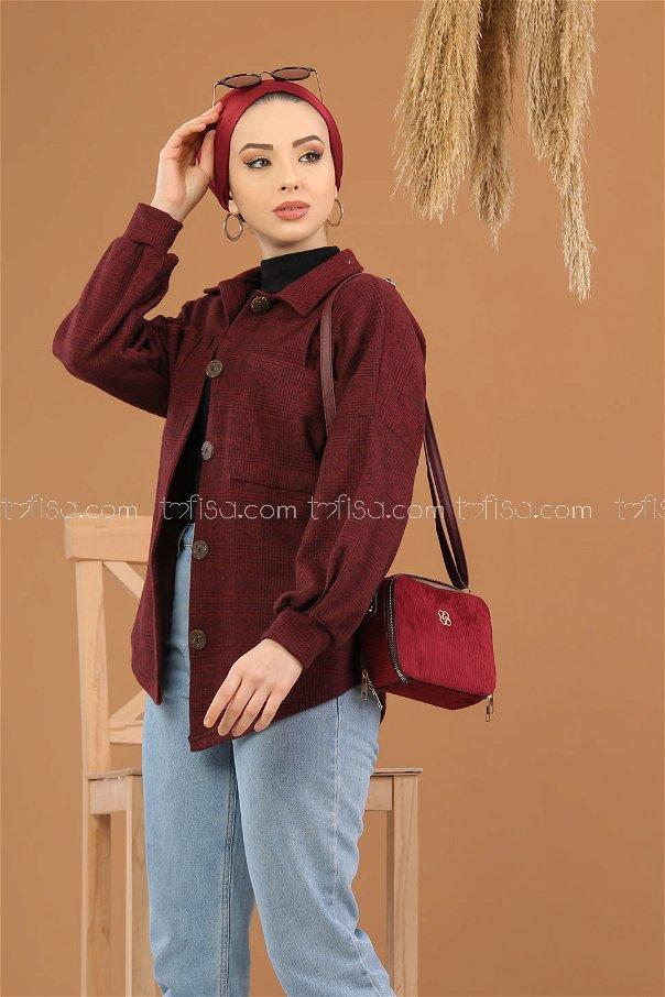 Shirt Squares claret red - 5228