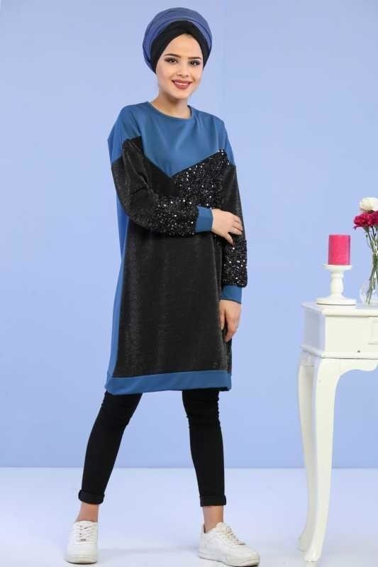 Silvery Sequin Tunic Blue - 02 6682