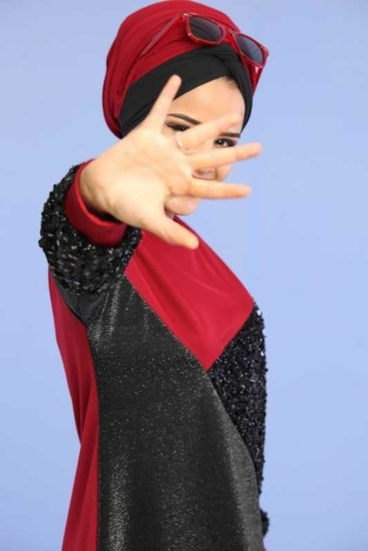 Silvery Sequin Tunic Claret Red - 02 6682