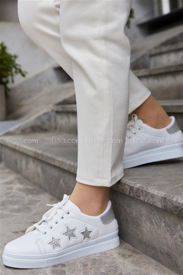 Sımlı Ayakkabı BEYAZ GUMUS - 20148