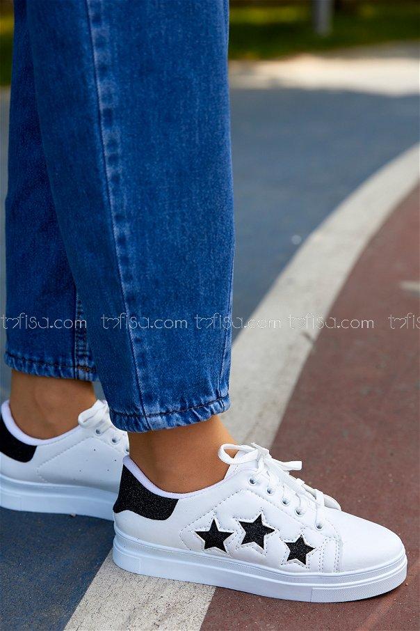 Sımlı Ayakkabı BEYAZ SIYAH - 20148