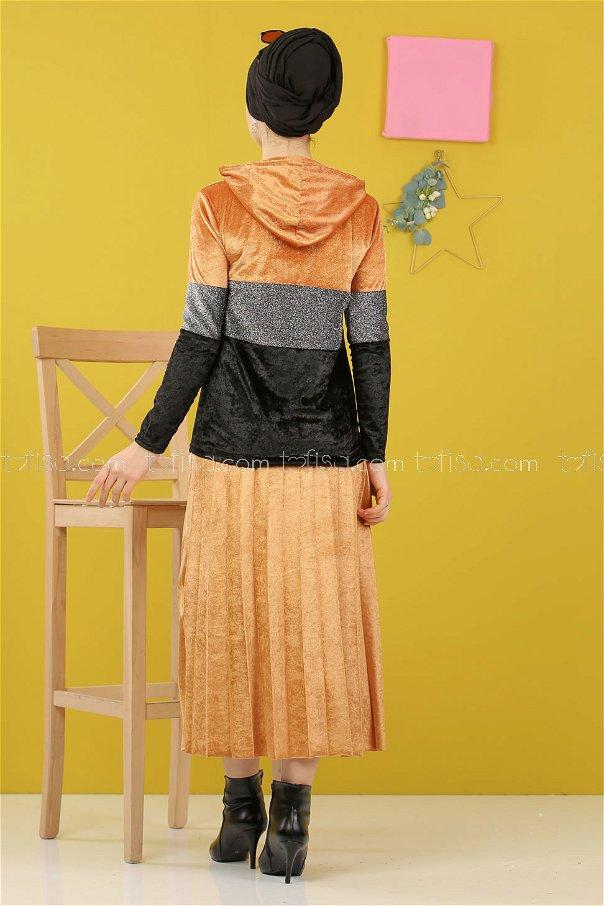 Simli Kadife Tunik Etek Hardal - 8246