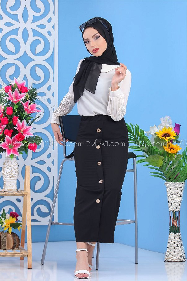 Skirt Button Details - Black - 7478