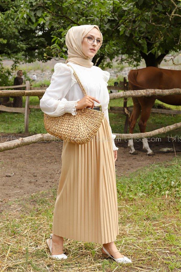 Skirt Pleated Beige - 3234