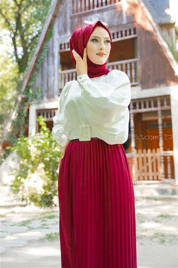 Skirt Pleated Claret Red - 3234