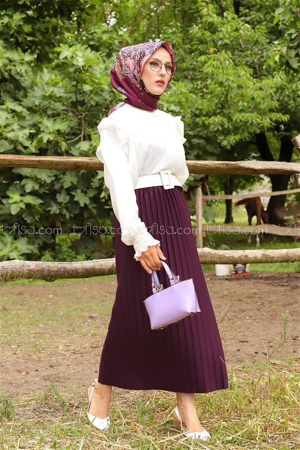 Skirt Pleated Damson - 3234