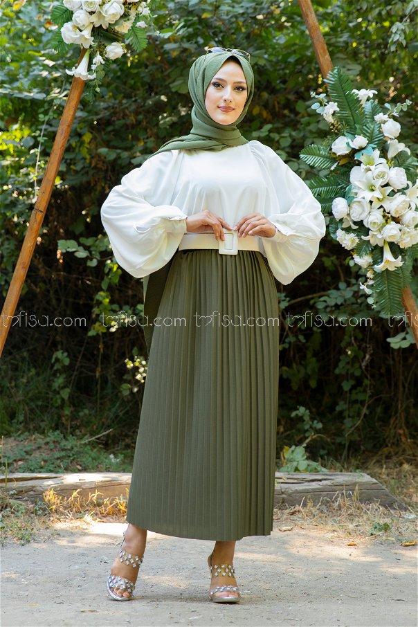 Skirt Pleated Khaki - 3234