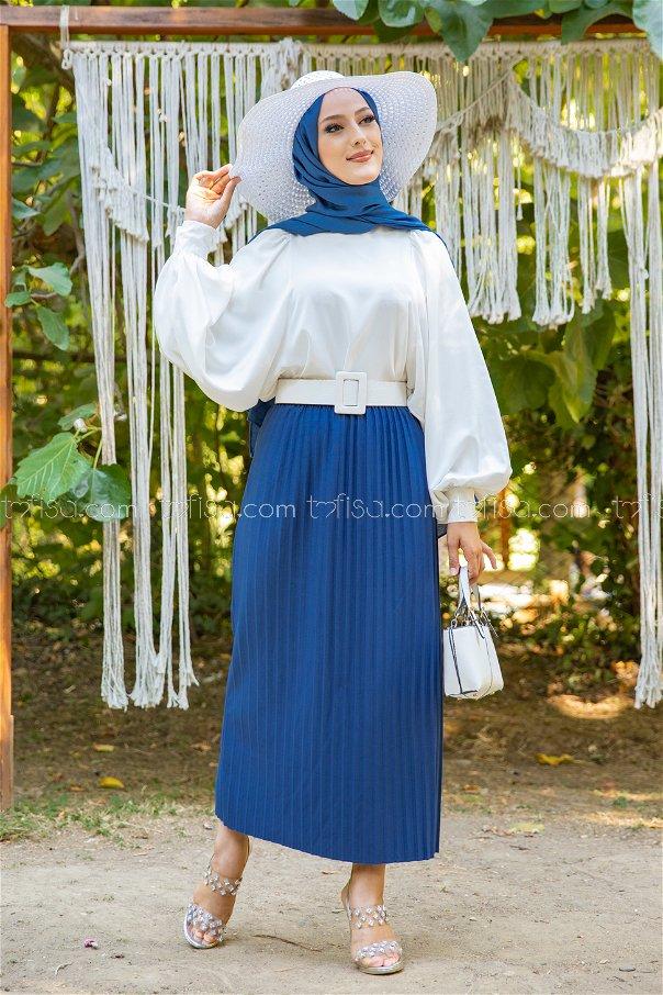 Skirt Pleated Sax - 3234