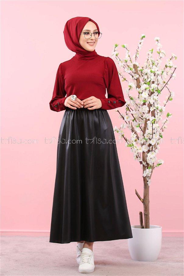 Skirt Shirt Combin Claret Red - 3019