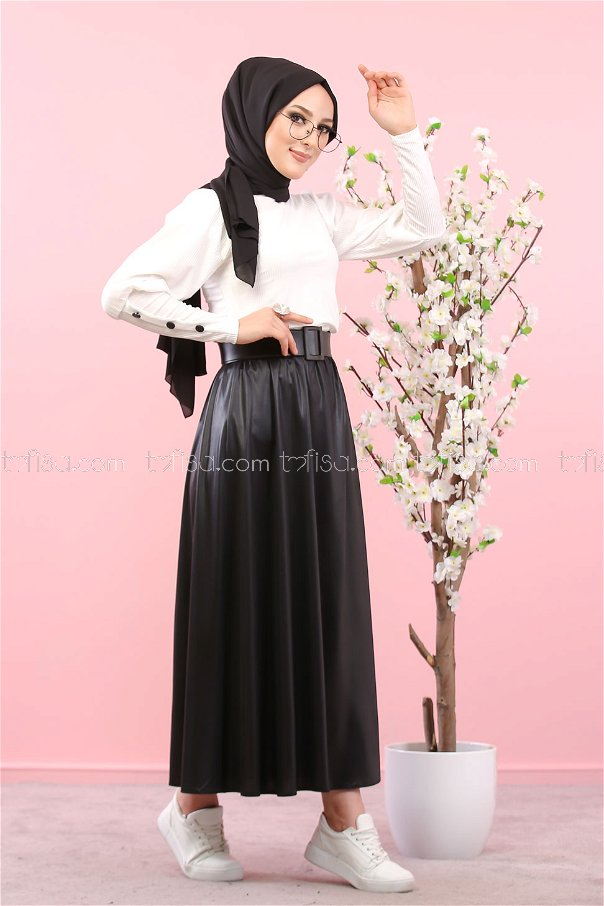 Skirt Shirt Combin White - 3019