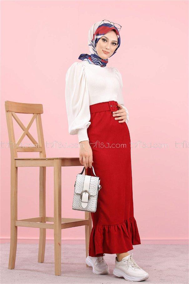 Skirt Velvet belt claret red - 8293