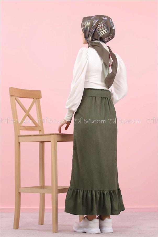 Skirt Velvet belt khaki- 8293