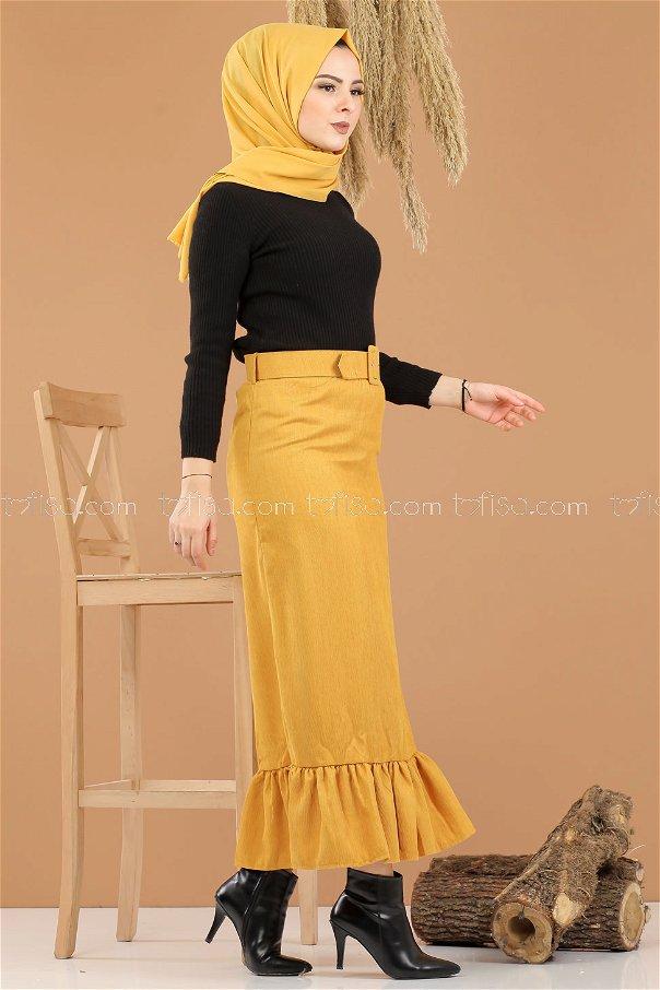Skirt Velvet belt Mustard - 8293