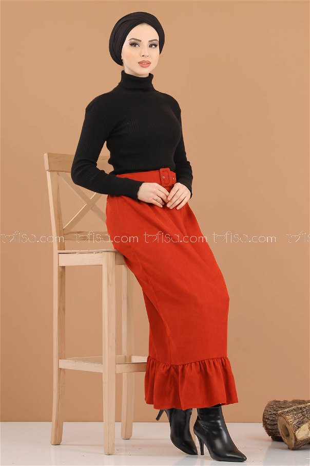 Skirt Velvet belt orange - 8293