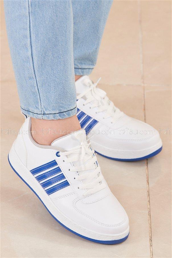 Spor Ayakkabı BEYAZ LACIVERT - 20218